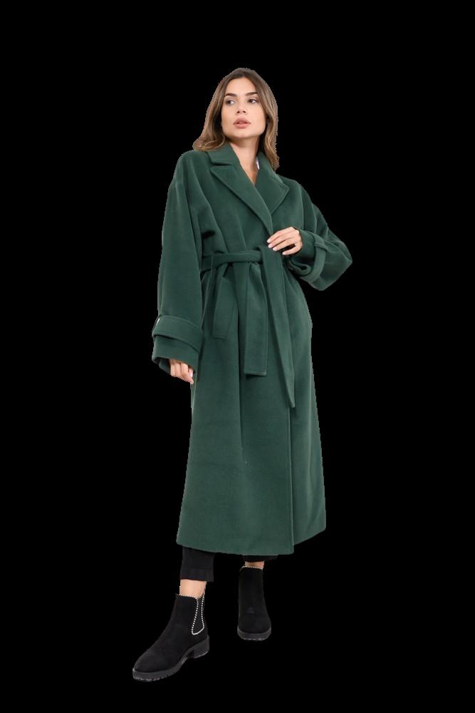 Μακρύ παλτό με ασορτί ζώνη (DARKGREEN)