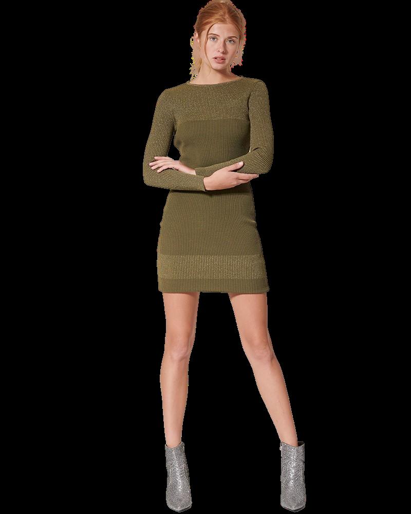 Μίντι Φόρεμα Πλεκτό Με Μακριά Μανίκια (KHAKI)