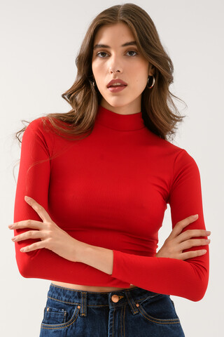 Ribbed cropped top RED XS