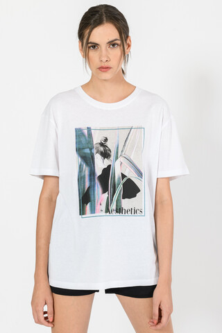 T-shirt with front print WHITE XS