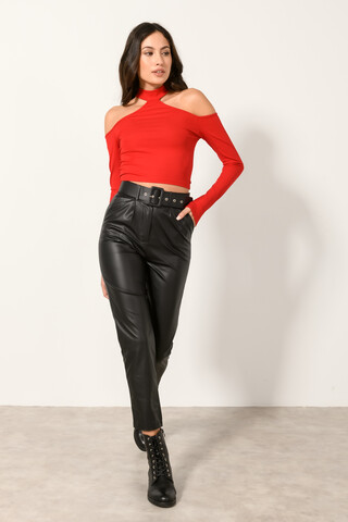 Ripped cutout top with choker RED M