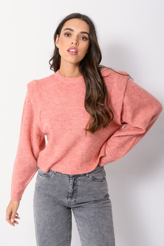 Knitted top with frilled shoulders SALMON XS