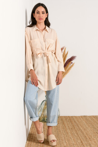 Long shirt with belt SAND S-M