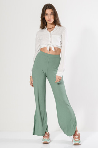 High waisted ribbed trousers L.OLIVE M