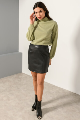 Mini leather look skirt BLACK XS
