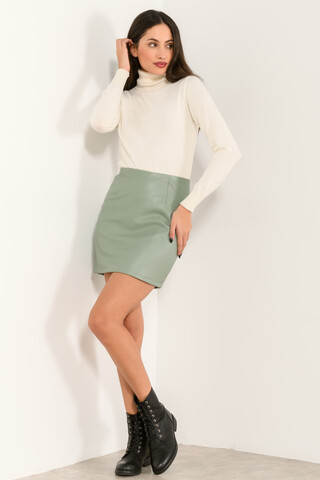 Mini leather look skirt L.MINT XS