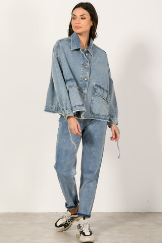 Oversized Denim Jacket LIGHT BLUE S-M