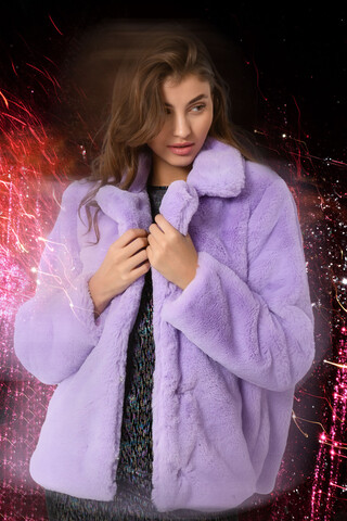 Faux fur jacket LILAC L