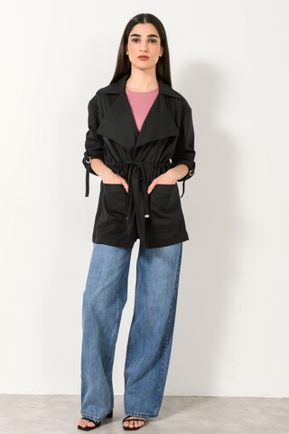 Wide collar jacket BLACK XS