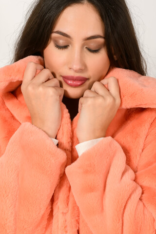 Faux fur short jacket SALMON S-M