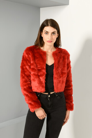 Faux fur jacket RED S