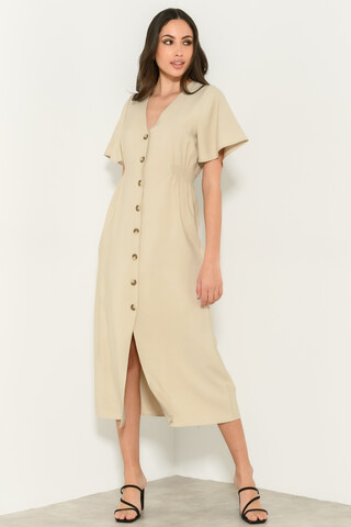 Midi dress with buttons BEIGE S