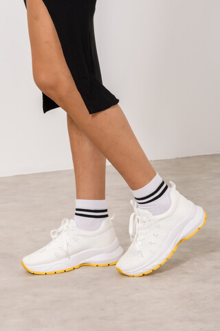 Sneakers με χρωματιστή σόλα 36 WHITE