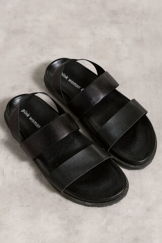 Leather looked sandals BLACK 37