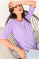 Basic 3/4 sleeved top LILAC XS