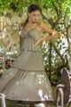 Maxi φόρεμα με λεπτομέρεια πιέτας M TAUPE