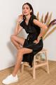 Midi πλισέ φόρεμα XS BLACK
