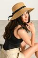 Ψάθινο καπέλο με κορδέλα ONESIZE BEIGE